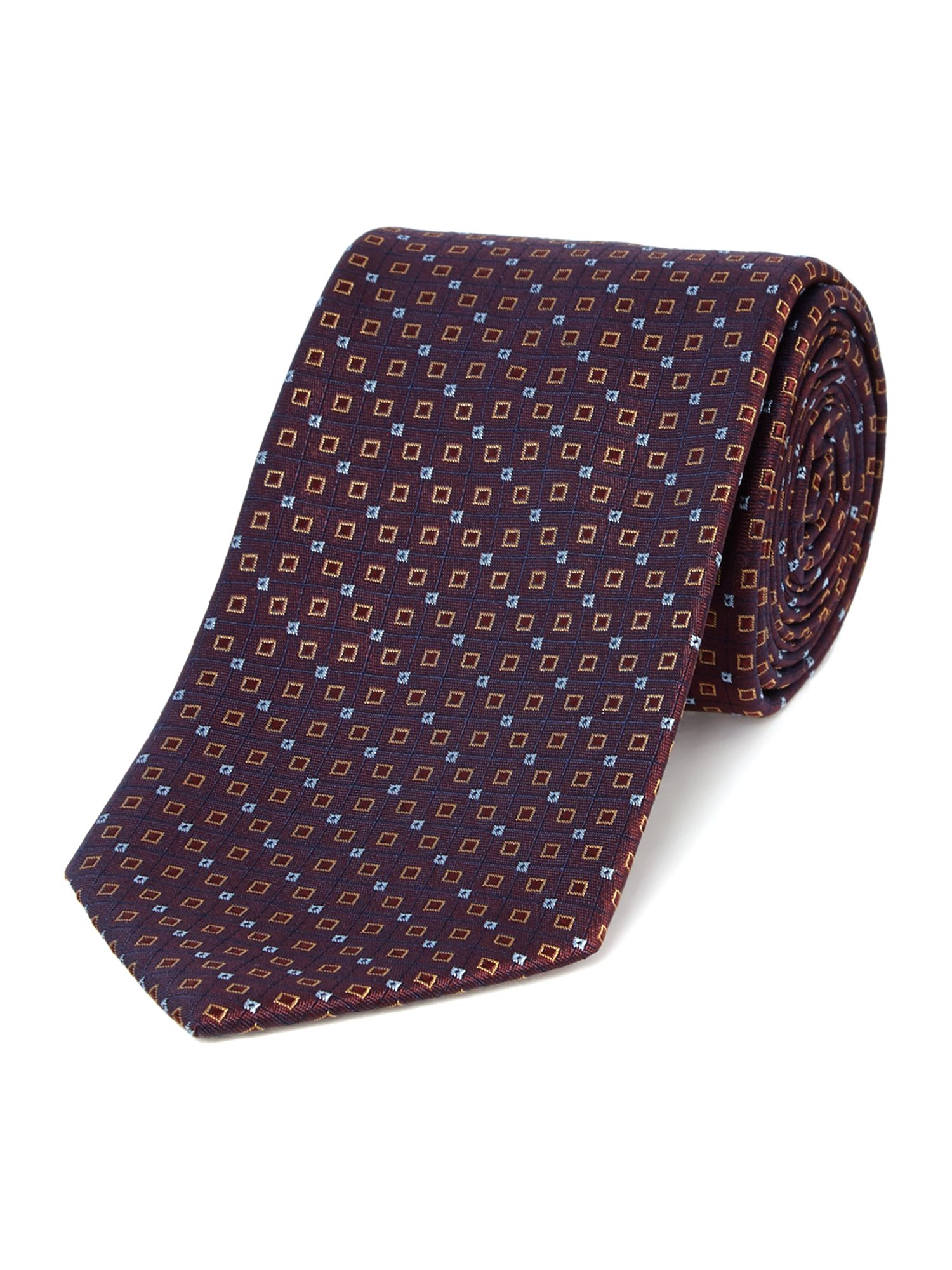 Valour square geo silk tie