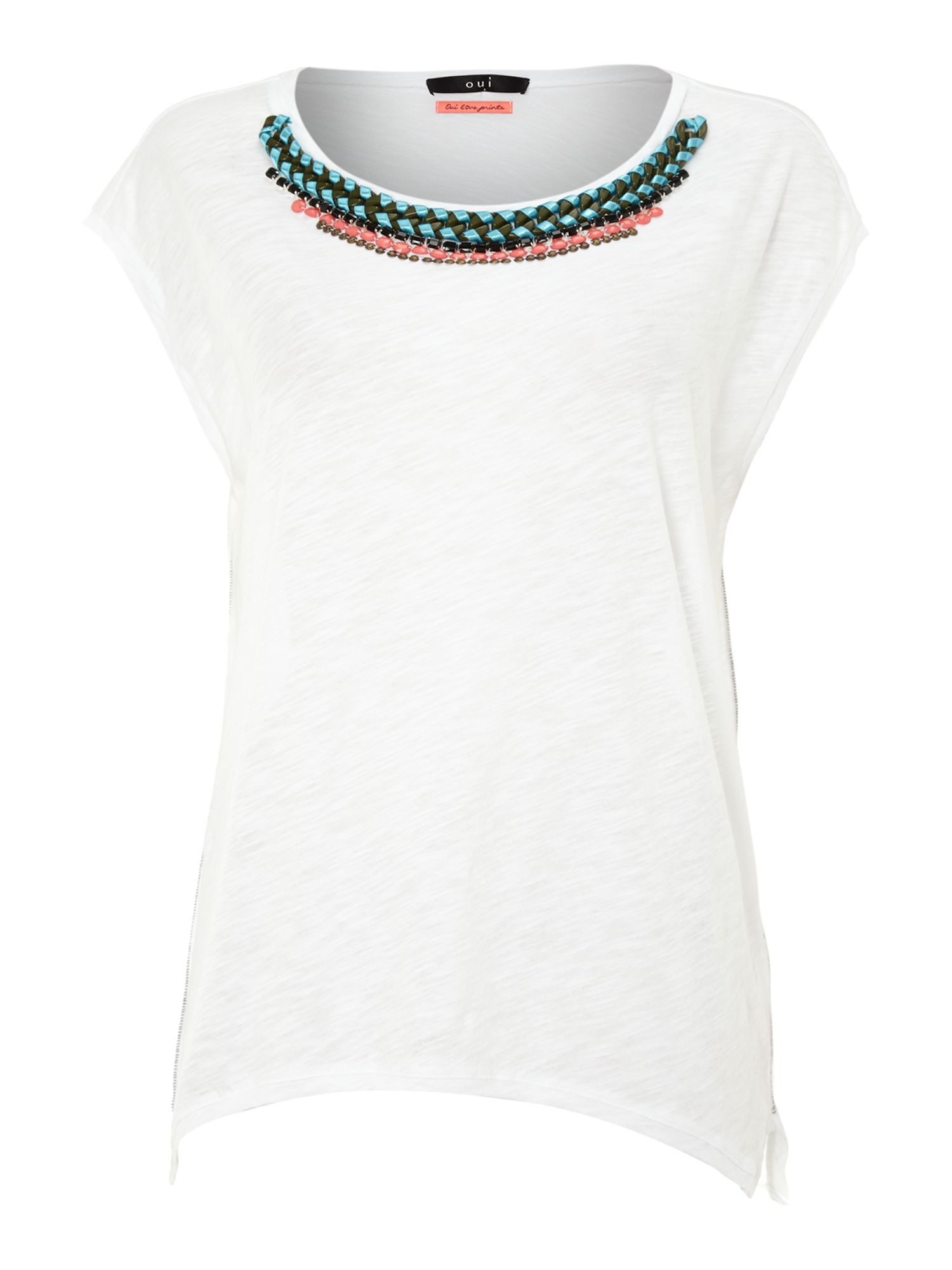 Printed top with beaded neckline