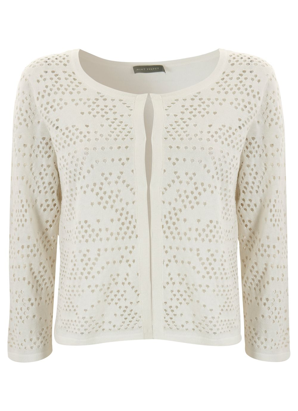 Ivory holey stitch cardigan