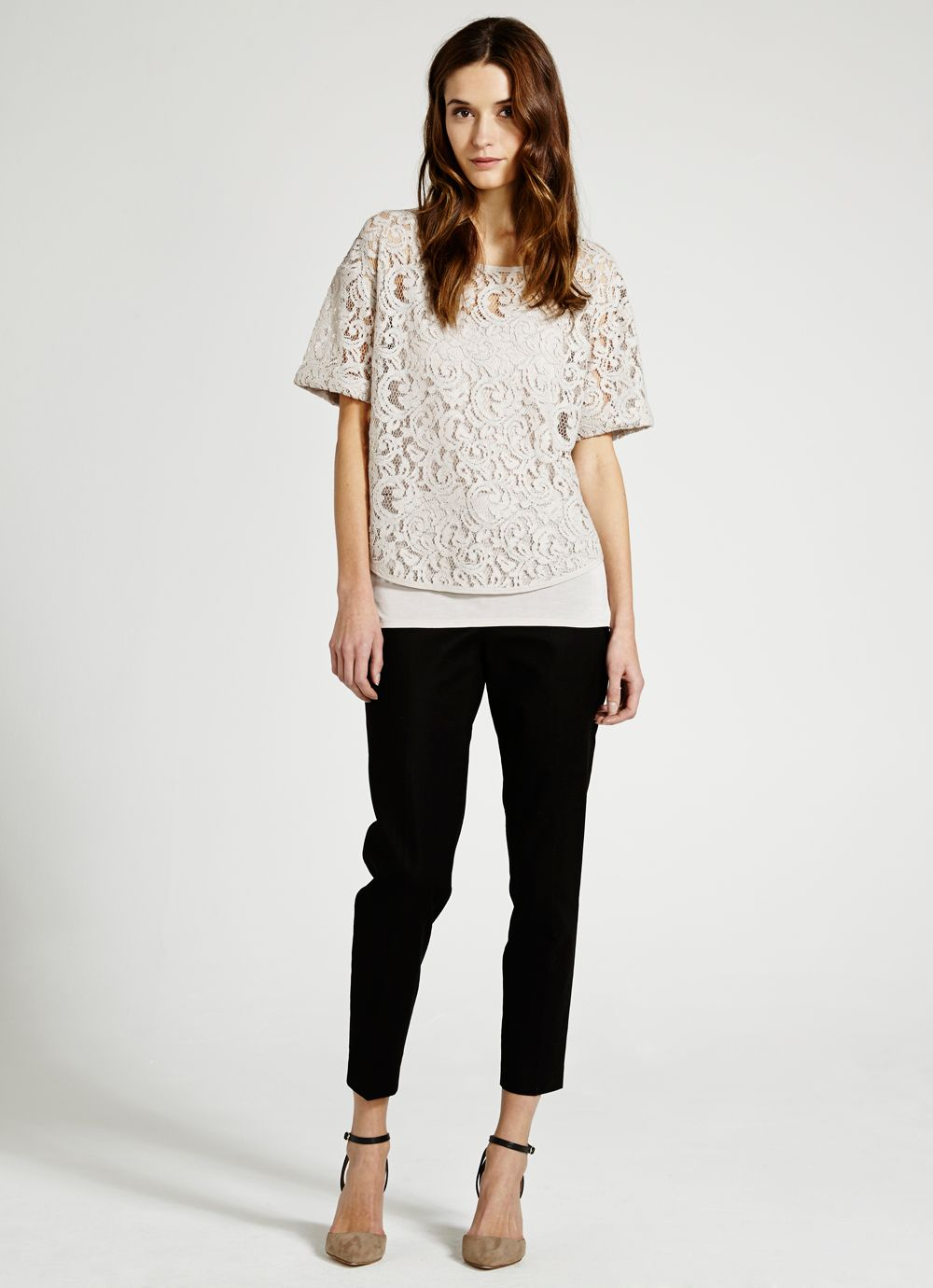 Stone lace layer tee