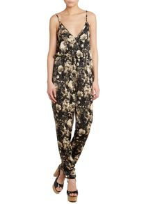 Strappy floral print jumpsuit