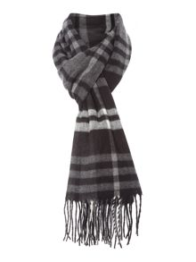 Soft touch grey check scarf