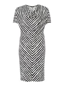 3/4 sleeve cowl neck stripe dress