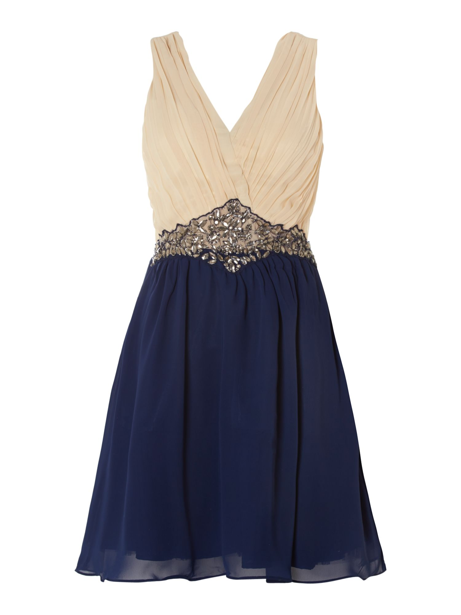 Two tone embellished waist fit and flare dress