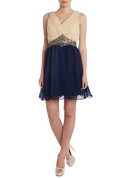 Little Mistress Two tone embellished waist fit and flare dress