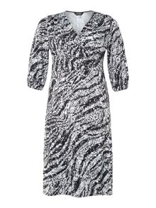 3/4 sleeve sequin print wrap dress