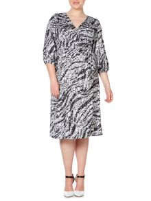 Plus Size 3/4 sleeve sequin print wrap dress