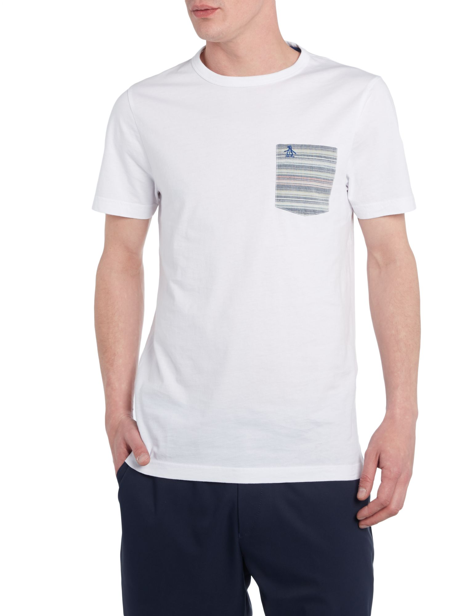 Stripey contrast pocket t shirt
