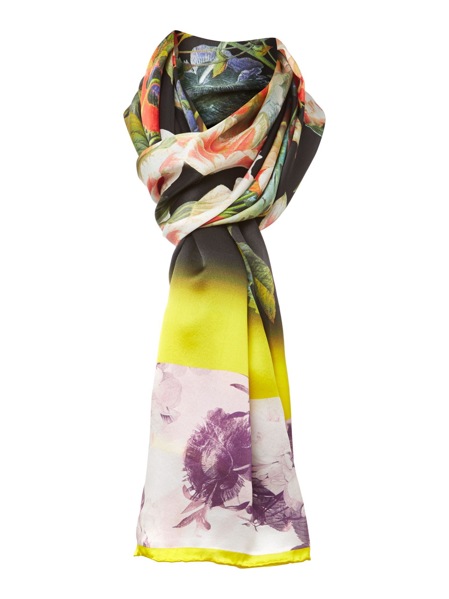Opulent bloom print silk long scarf