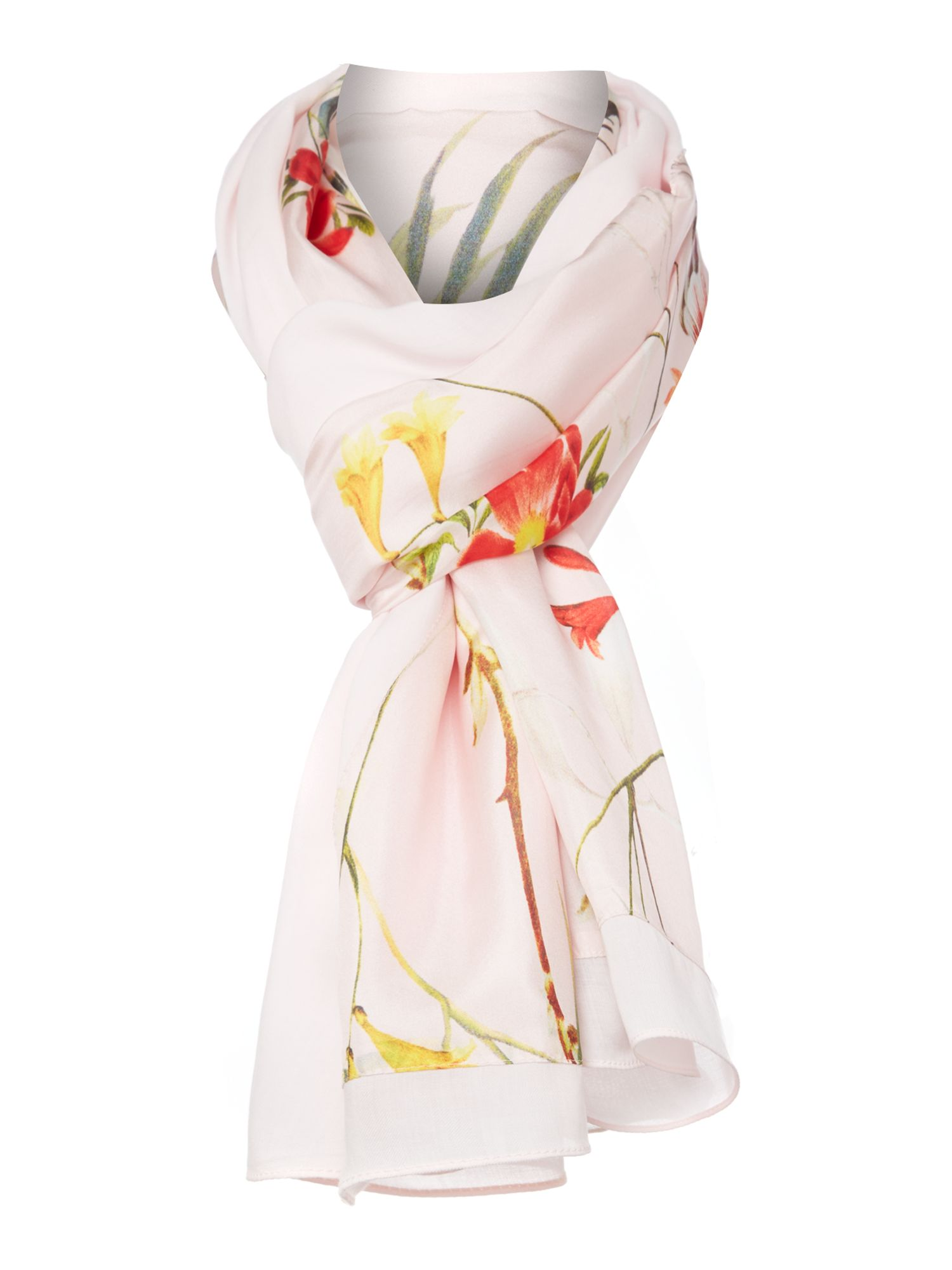Botanical bloom print silk & viscose split scarf
