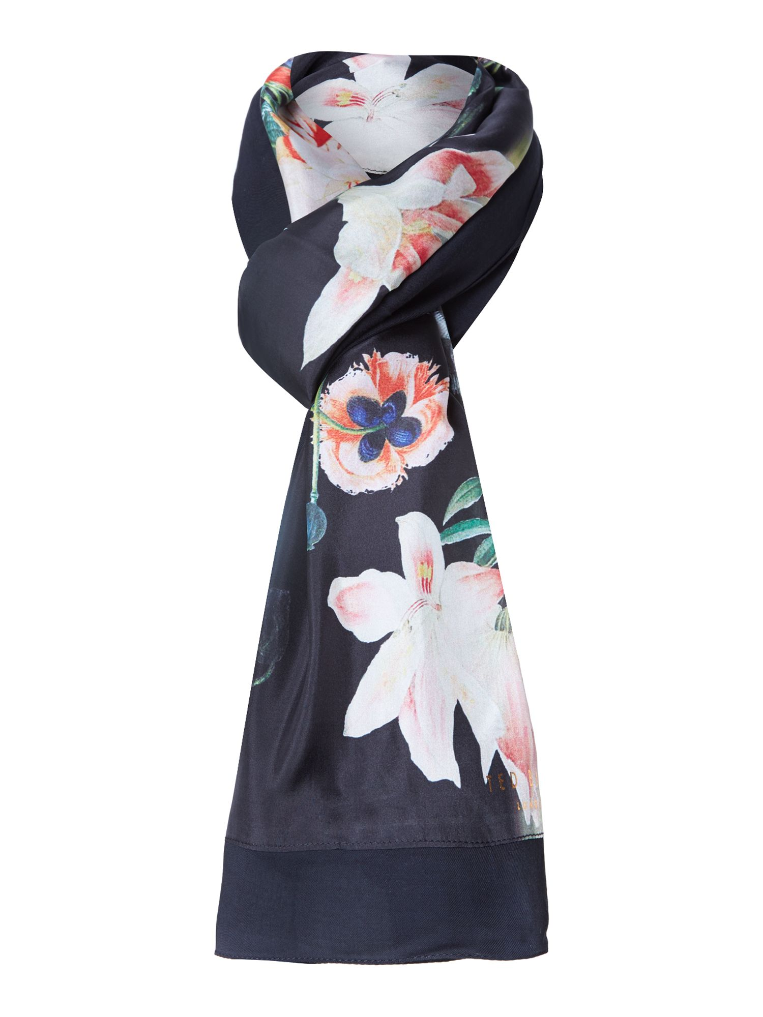 Opulent bloom print silk & viscose split scarf