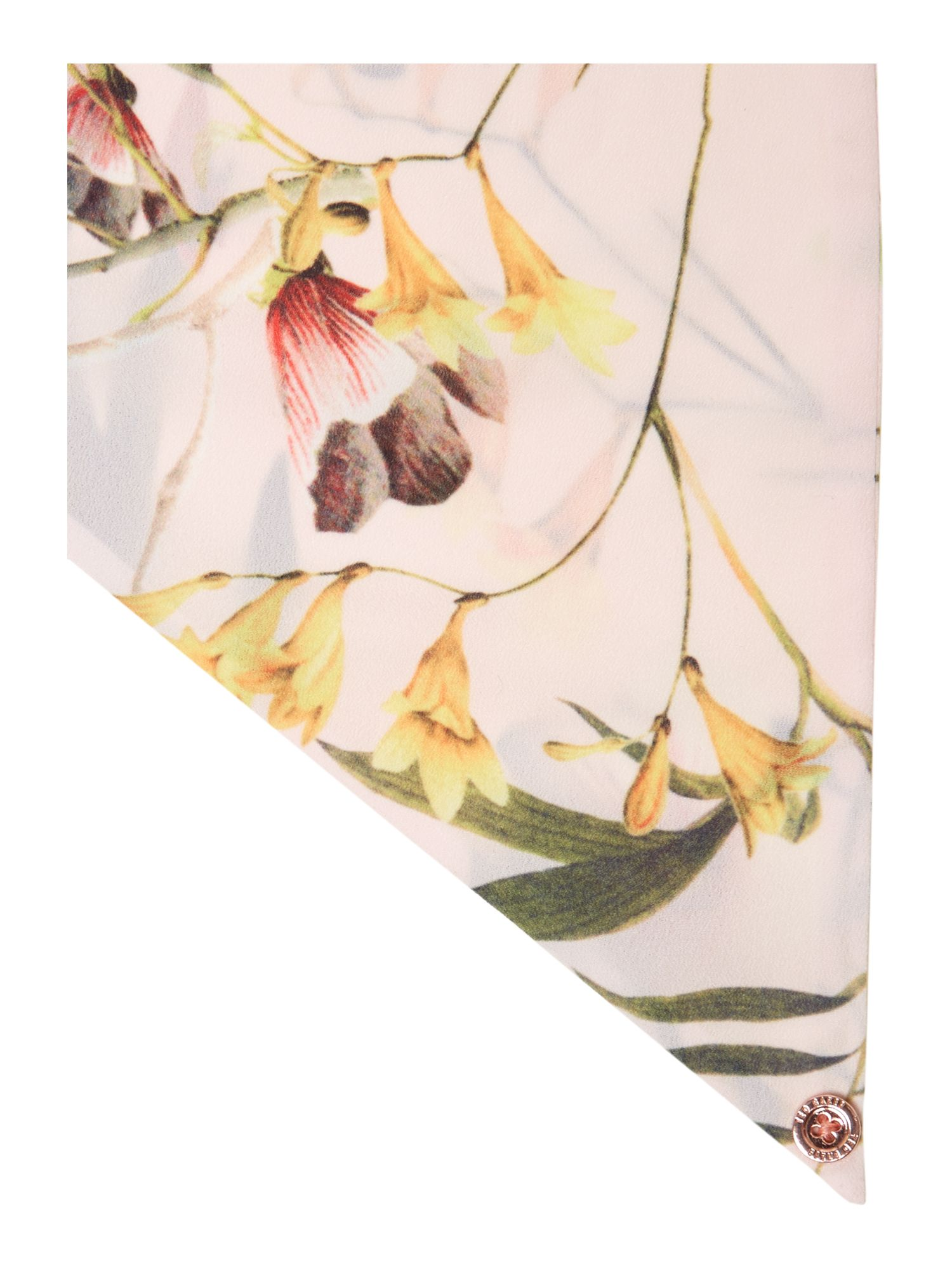 Botanical bloom print skinny scarf