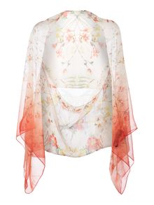 Botanical bloom print cape