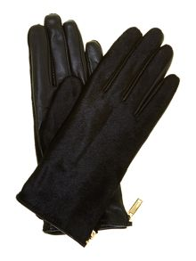 Pony zip detail touch screen gloves