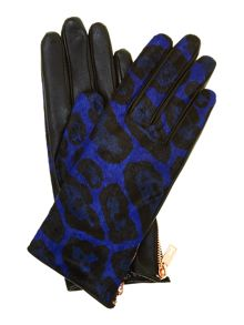 Exotic pony zip detail gloves