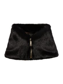 Zip high neck faux fur collar
