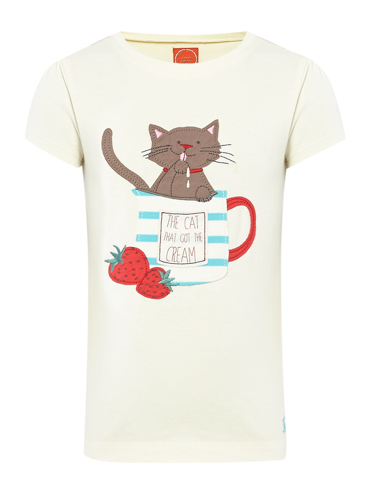 Girls cat applique t-shirt