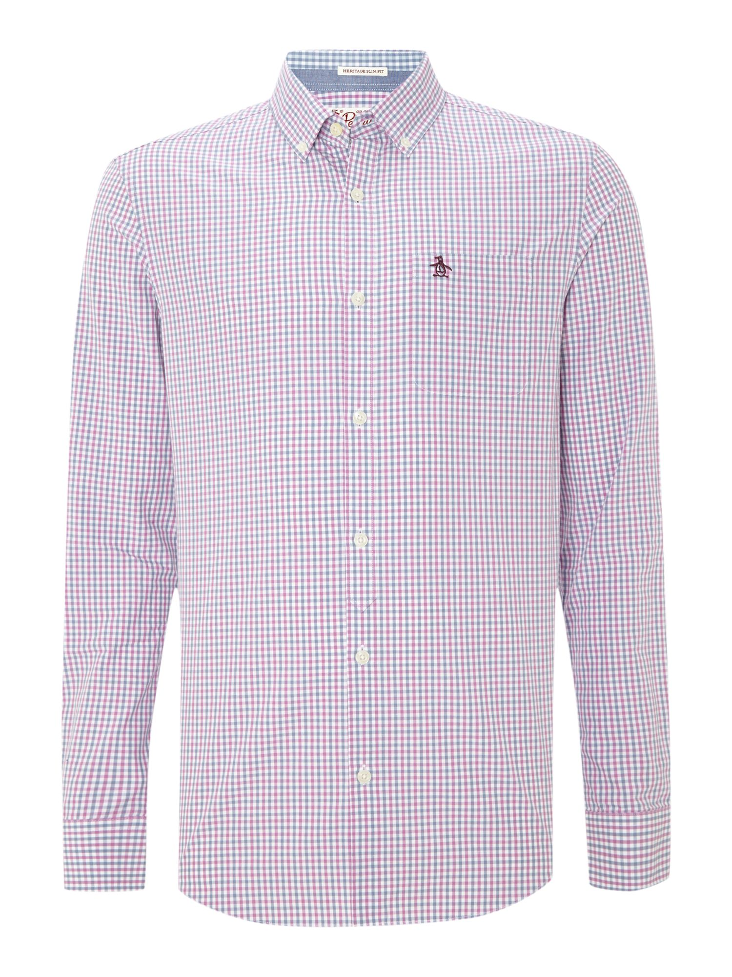 Long sleeve three colour gingham shirt