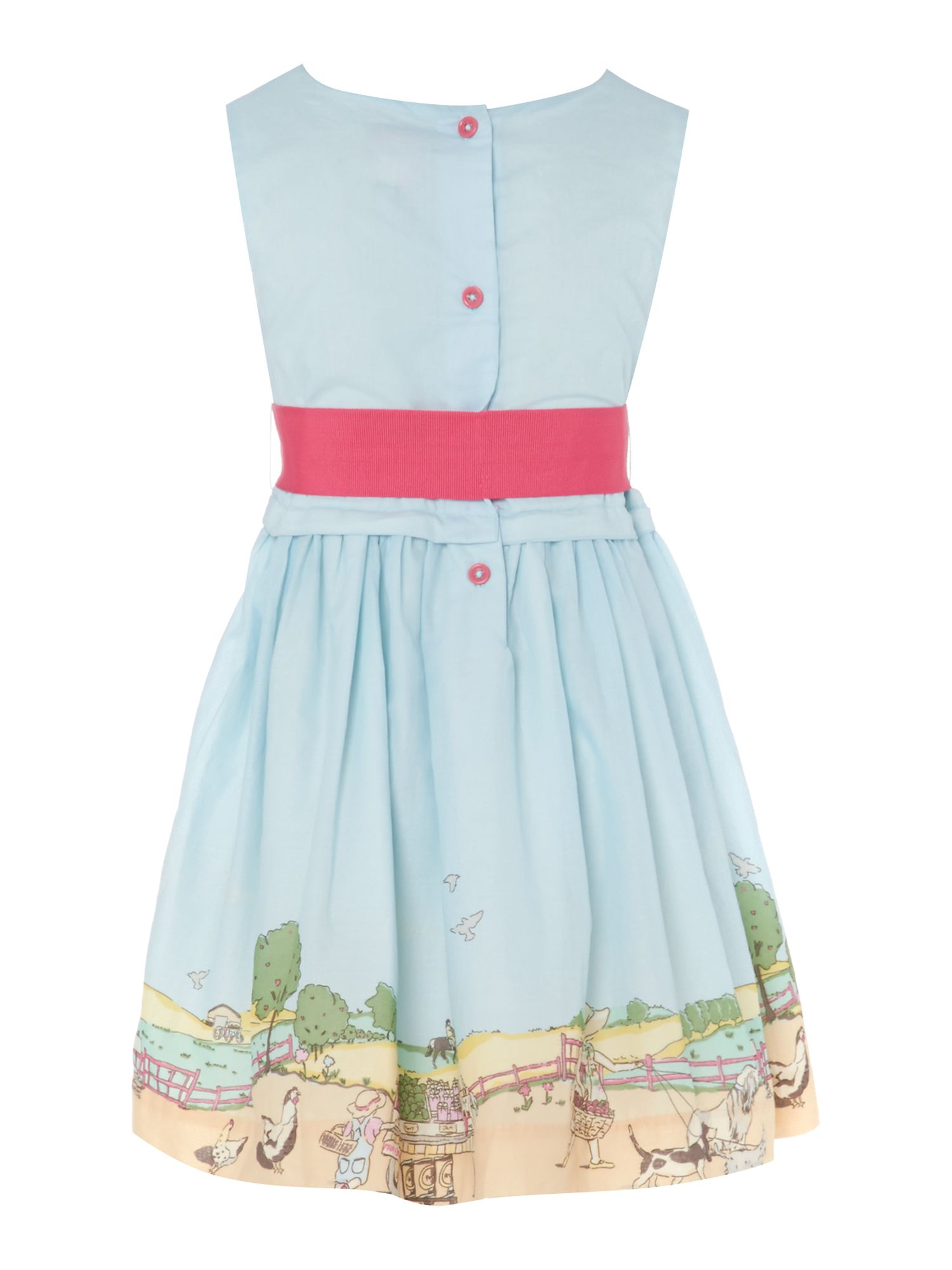 Girls seaside border print dress