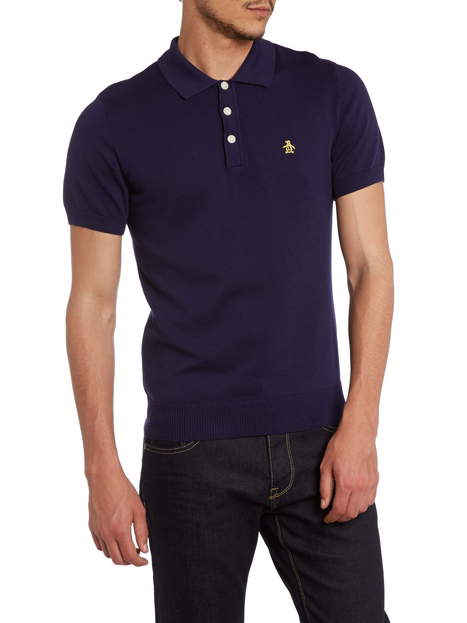 Knitted colour block polo