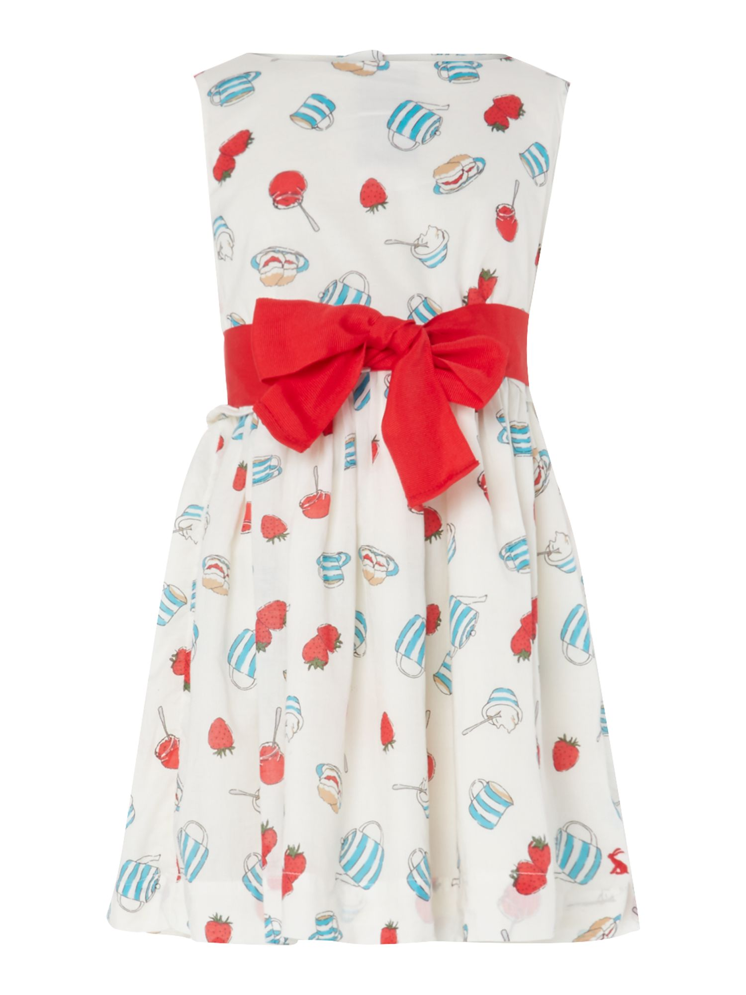 Girls cream tea print dress