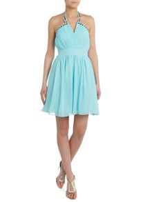 Jewel neck fit and flare dress