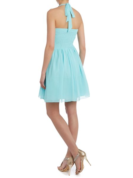 Little Mistress Jewel neck fit and flare dress