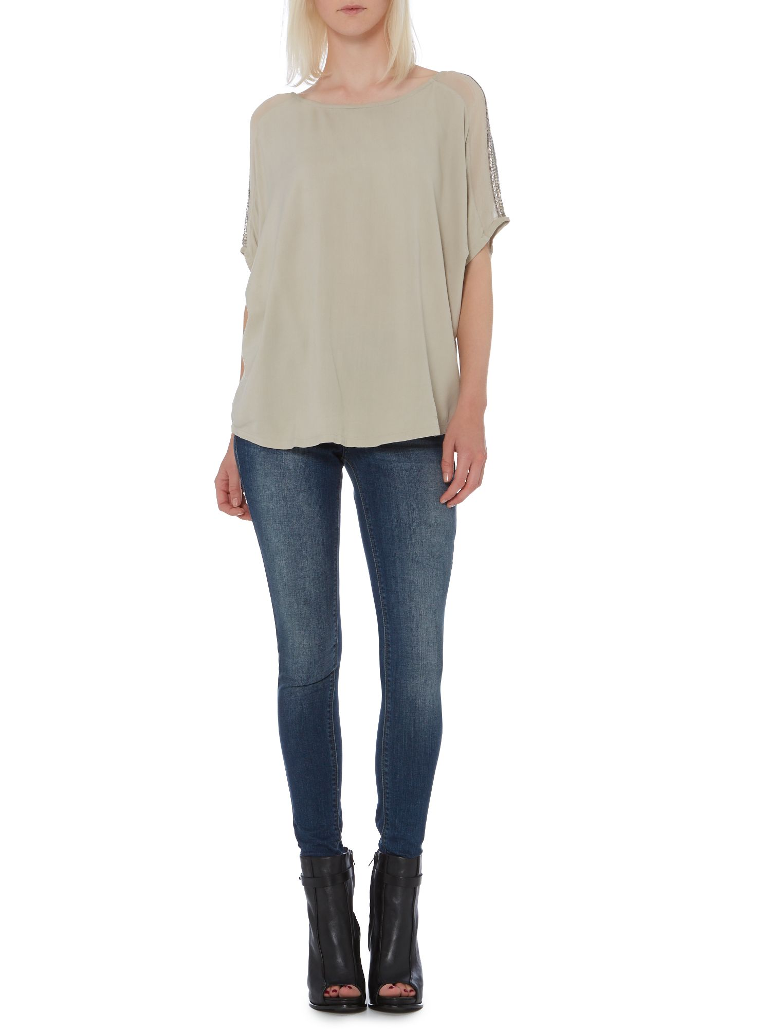 Embellished shoulder woven tee