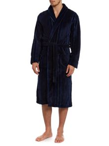 Fine stripe fleece robe
