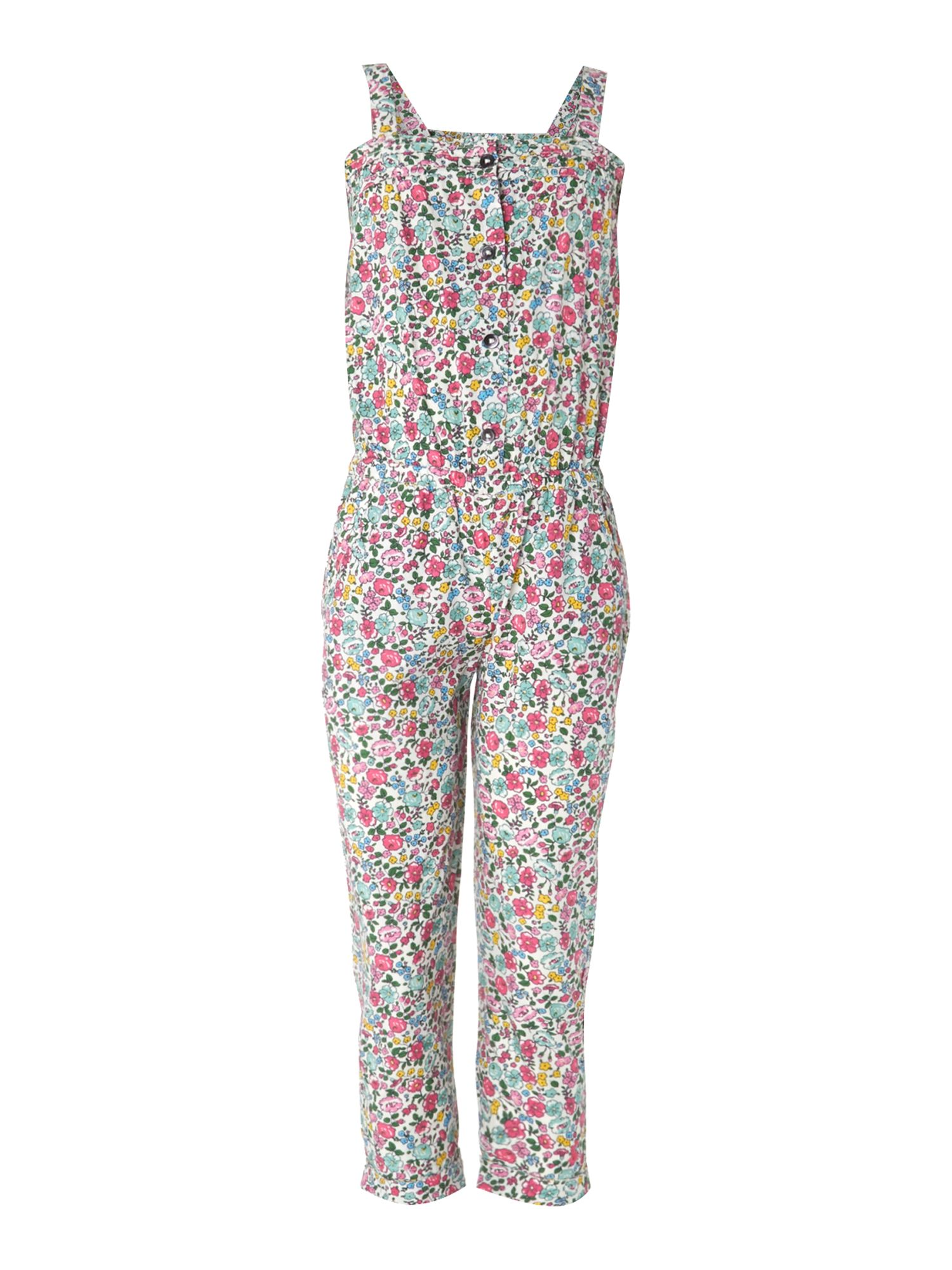 Girls floral button down jumpsuit