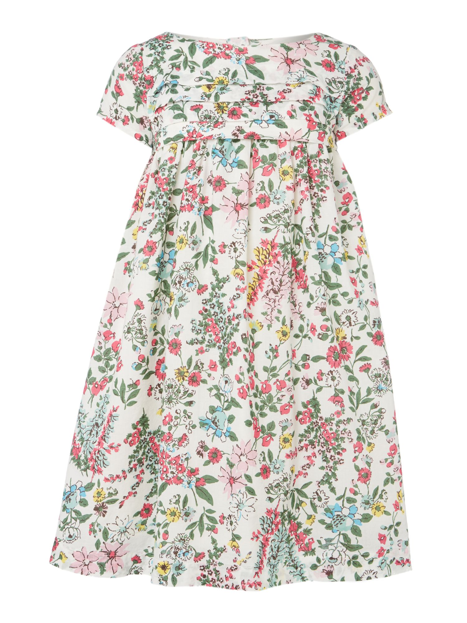 Girls pleated floral smock dress