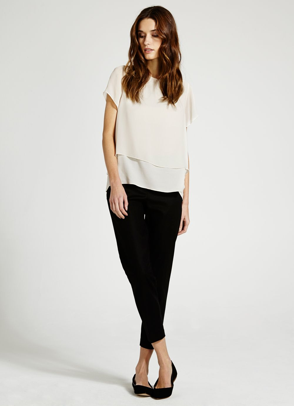 Vanilla cropped double layer t-shirt