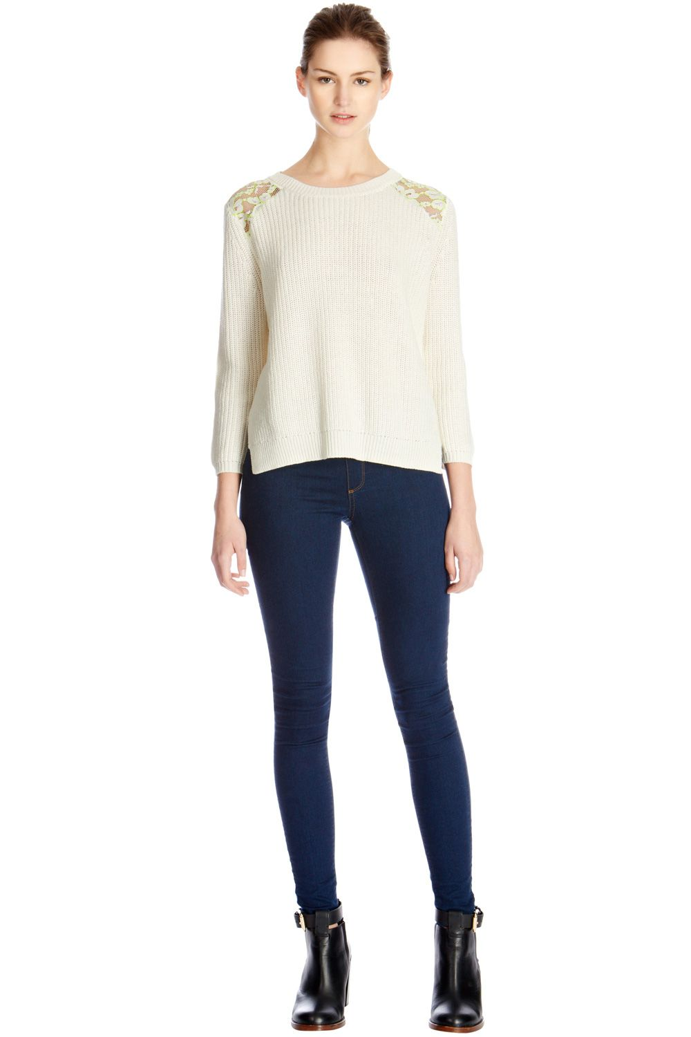 Fluro lace shoulder rib jumper
