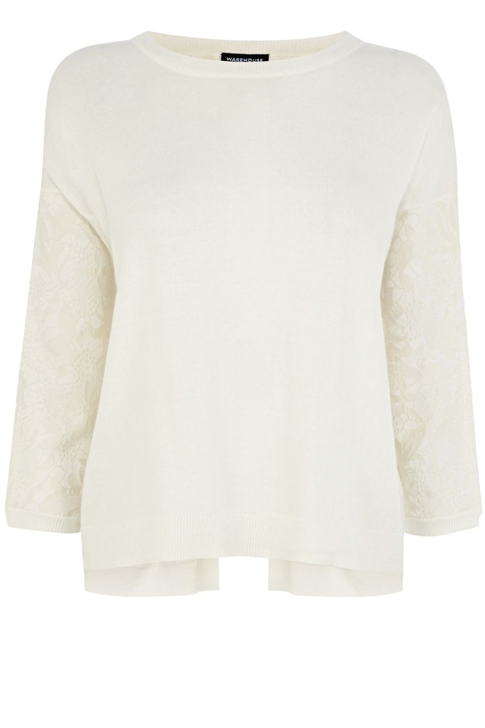 Step hem jacquard lace jumper