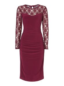 Lace sleeve dress with gathered detail