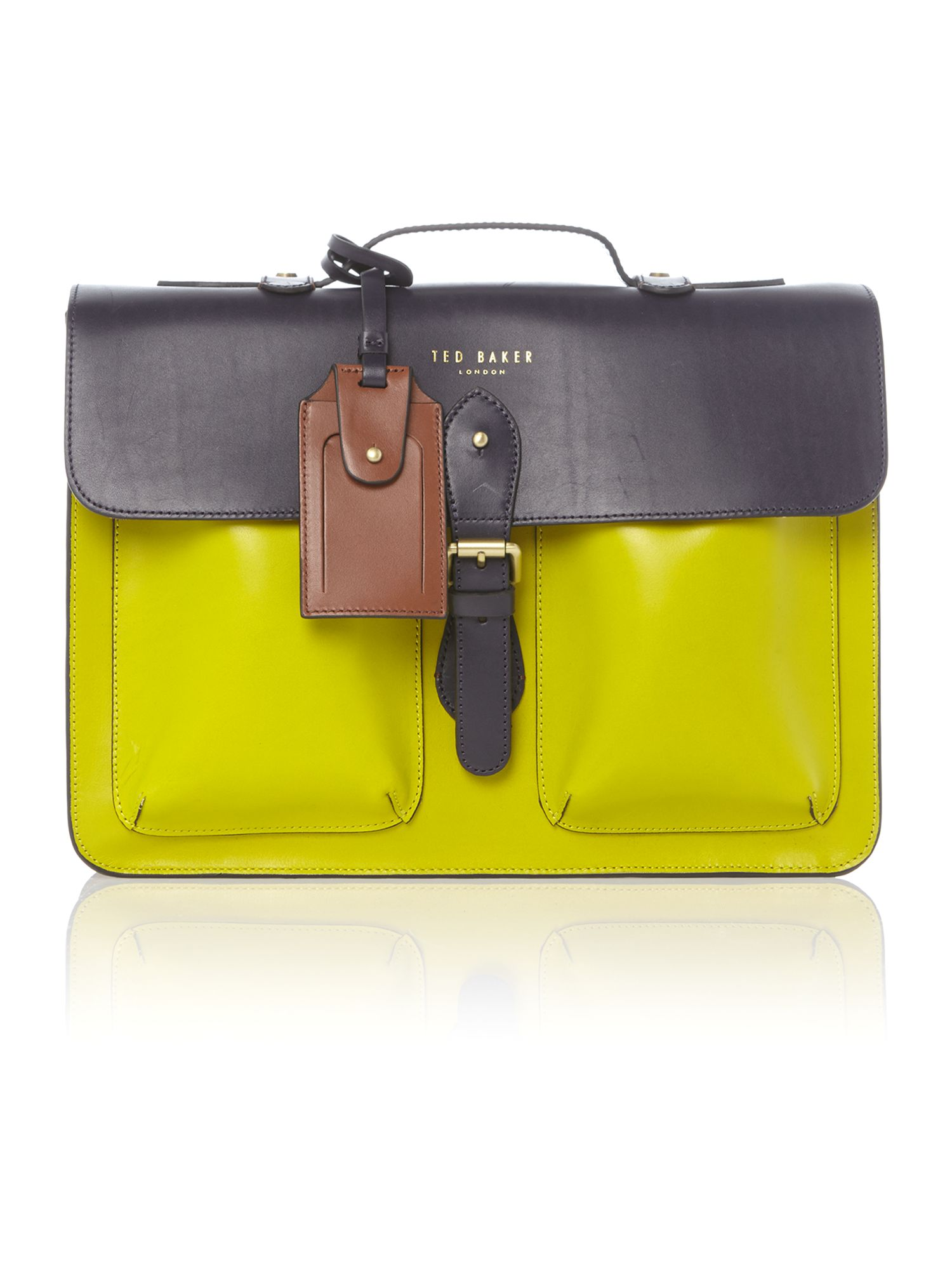Colour block leather satchel bag
