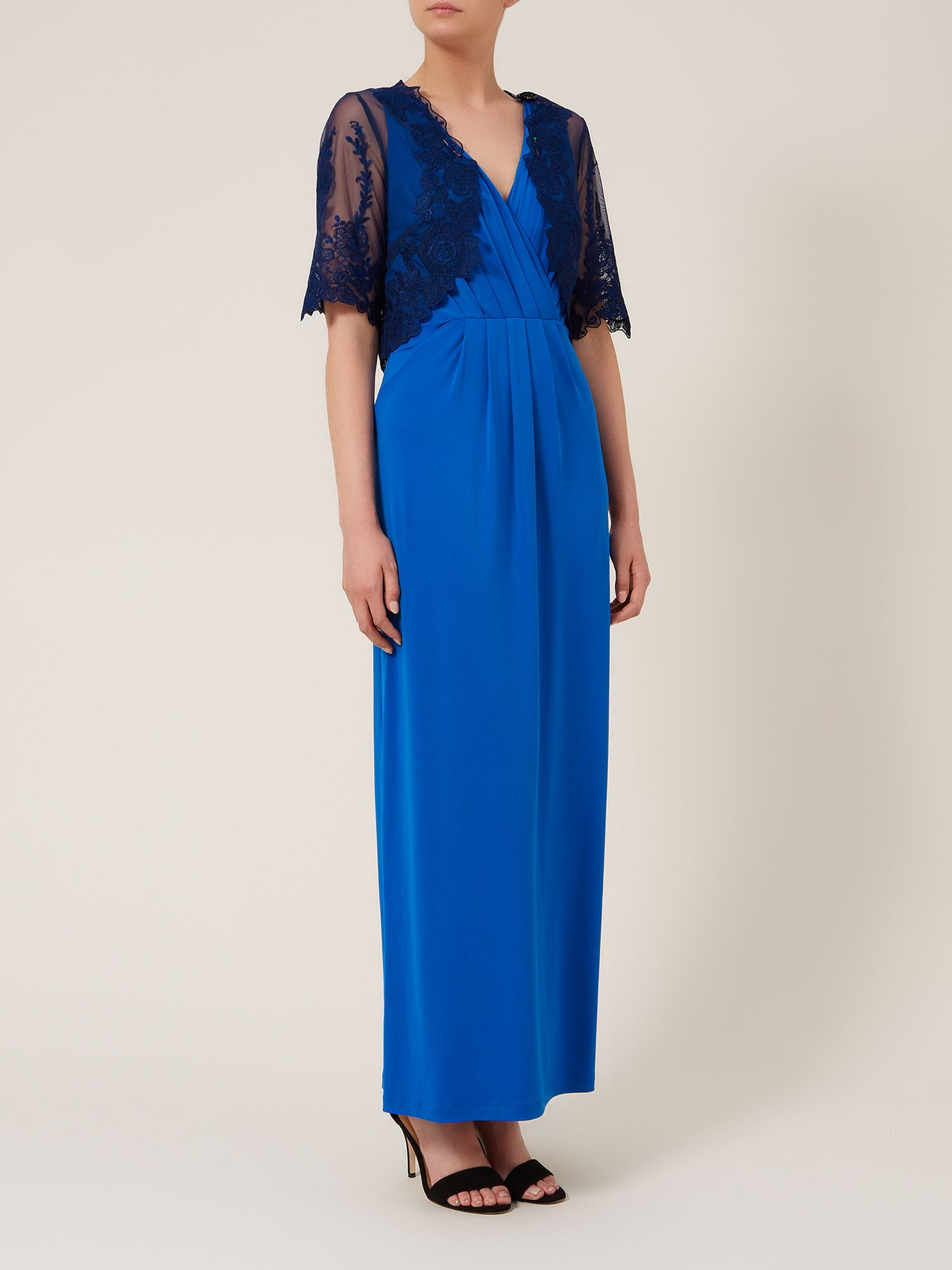 Maxi lace trim jersey dress with lace bolero