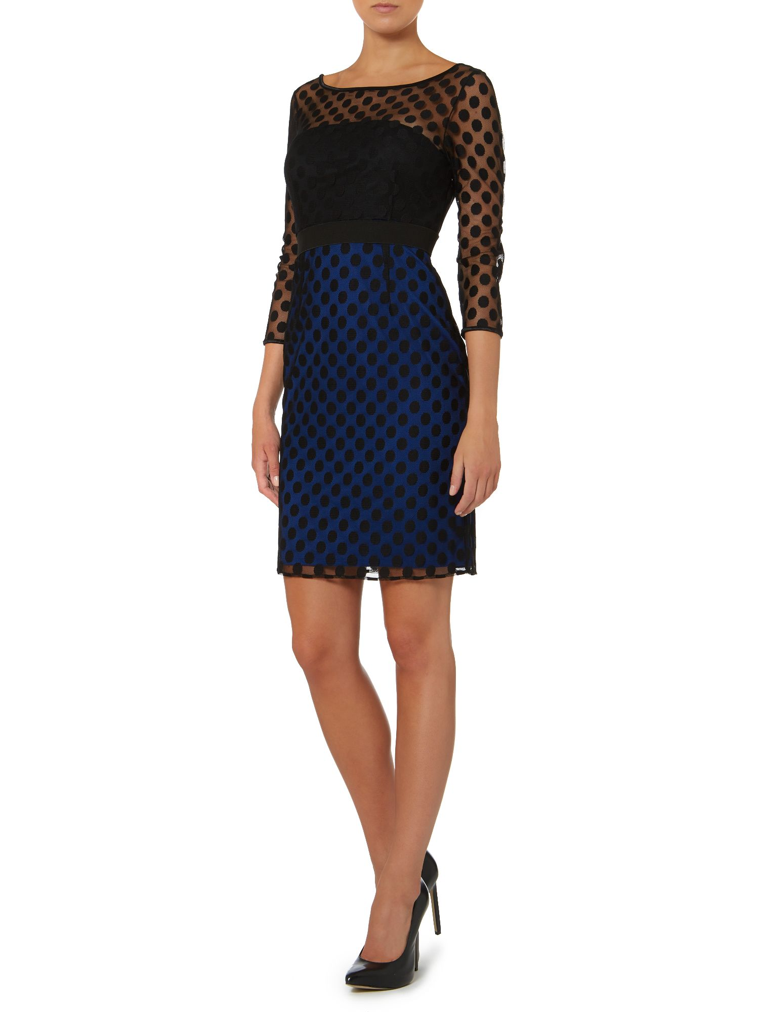 Shift dress with spot sleeves