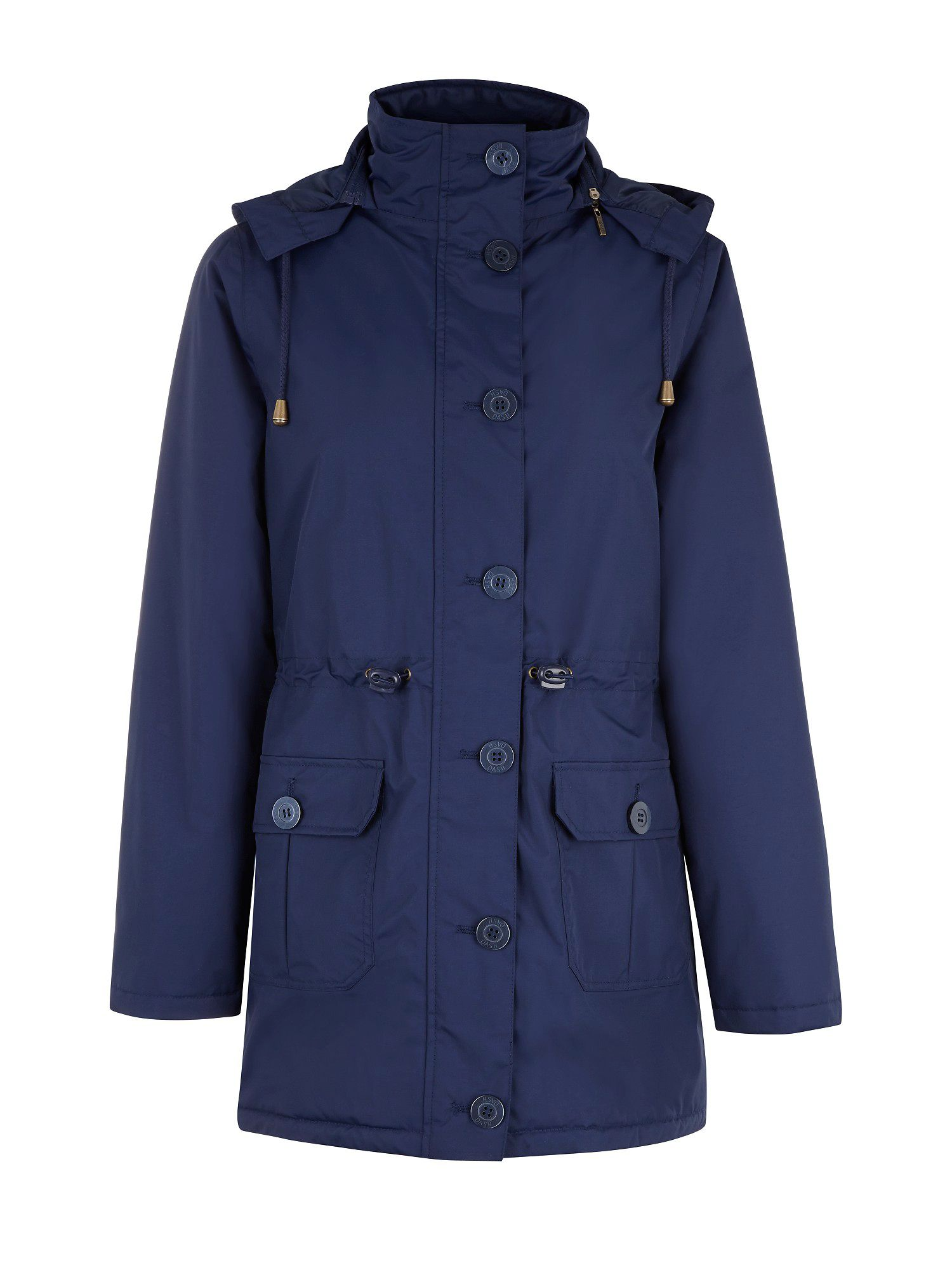 Hooded 3/4-length coat
