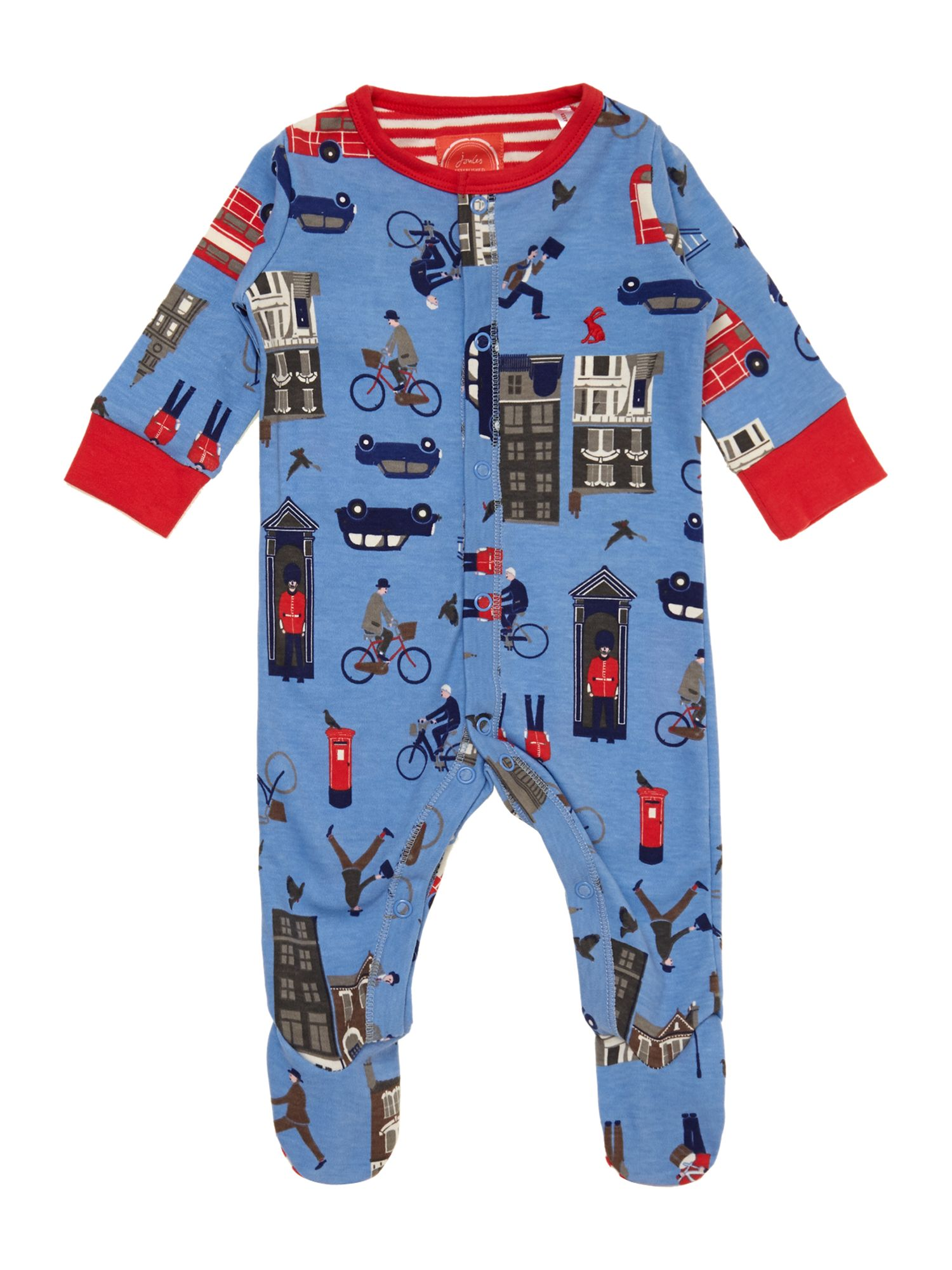 Baby boys london print sleepsuit