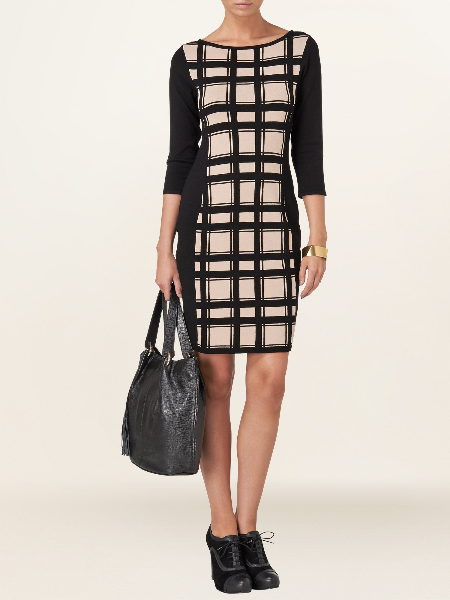 Carina check knit dress