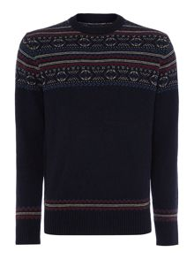 oslo fairisle panel crew neck