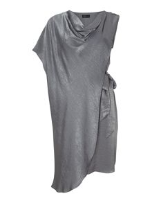 Hammered satin asymmetric side tie dress