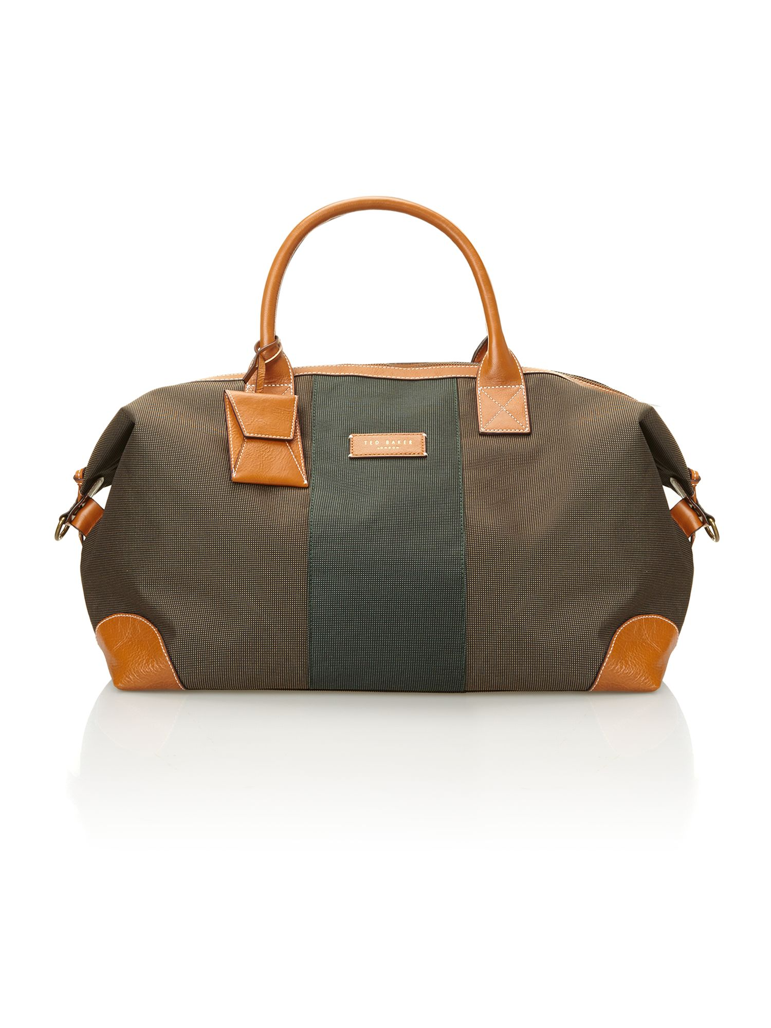 Stripe nylon and leather holdall bag