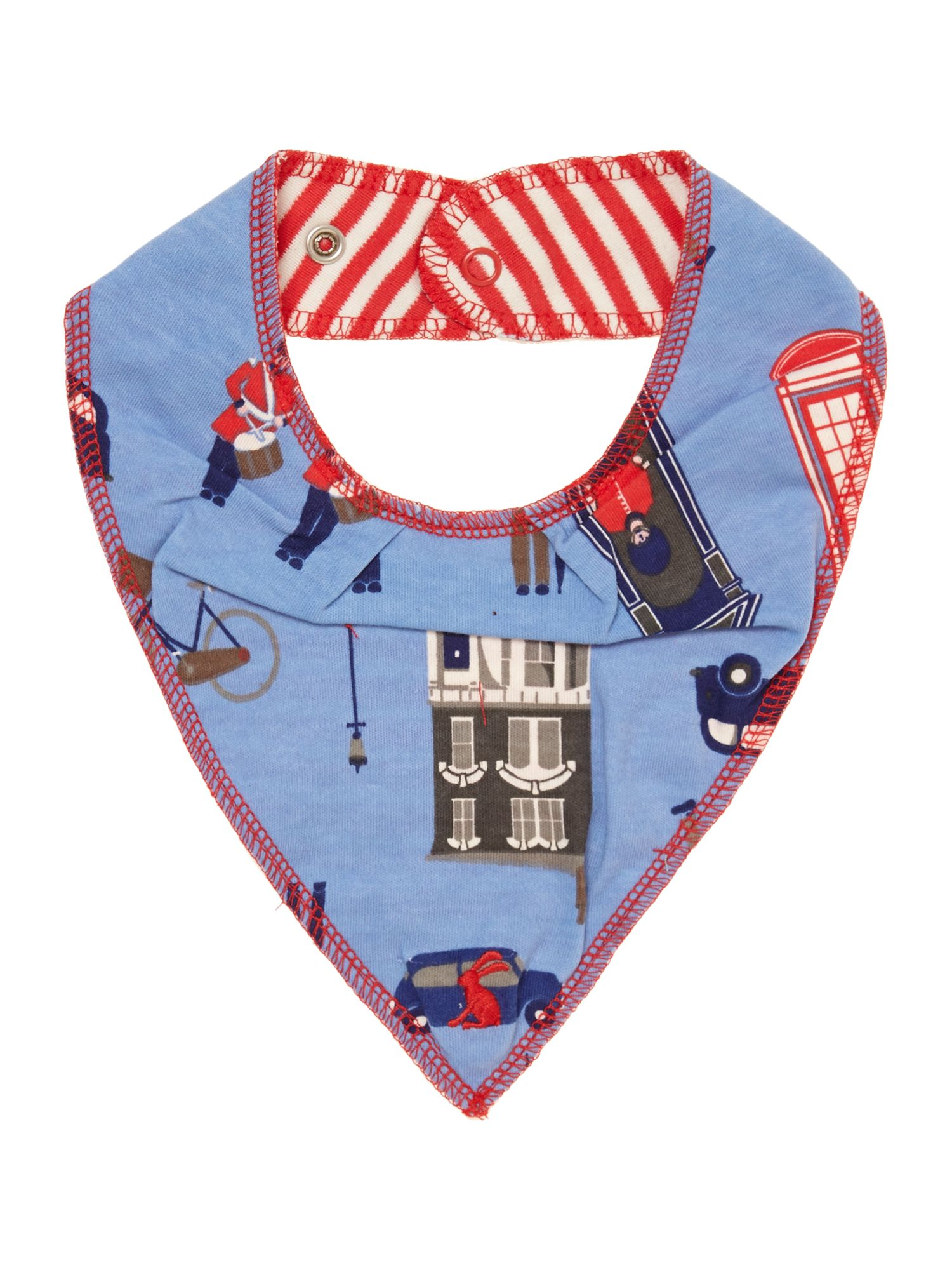Baby boys reversible London print bib