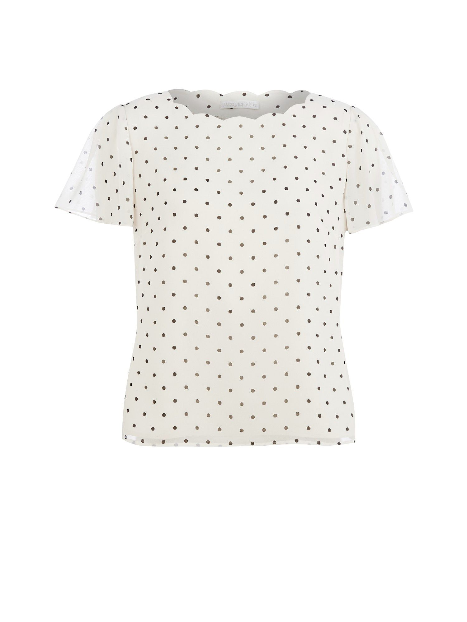 Cream & black spot blouse
