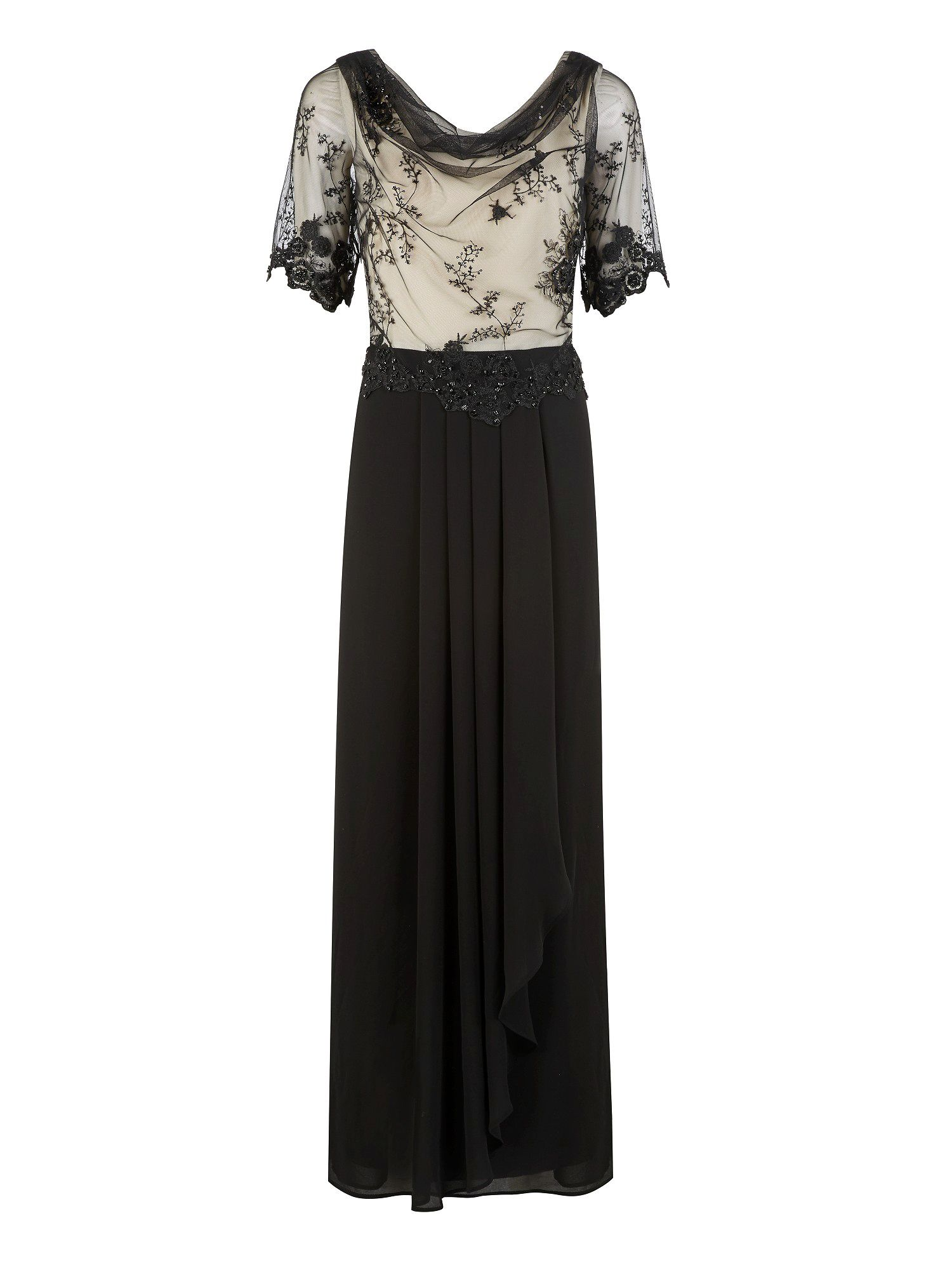 Black beaded mesh top maxi dress