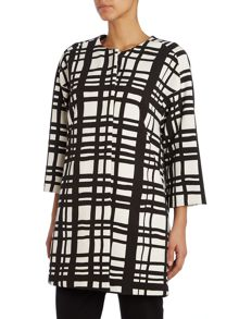 3/4 sleeved checked coat