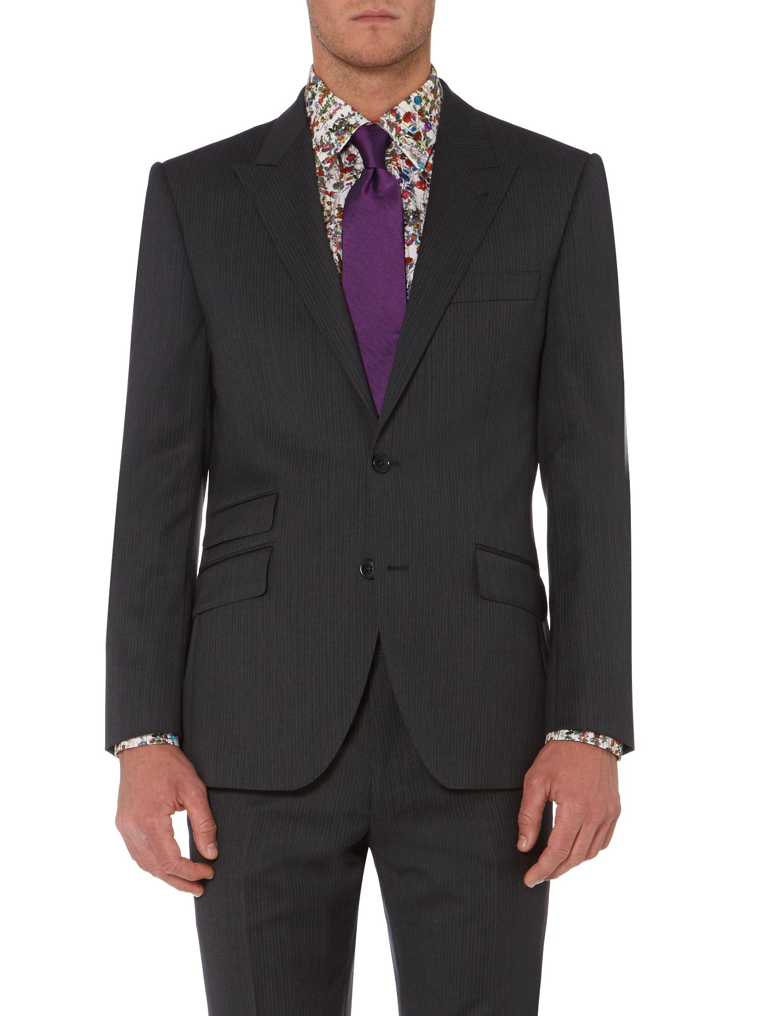 Sultain peak lapel fine stripe suit jacket