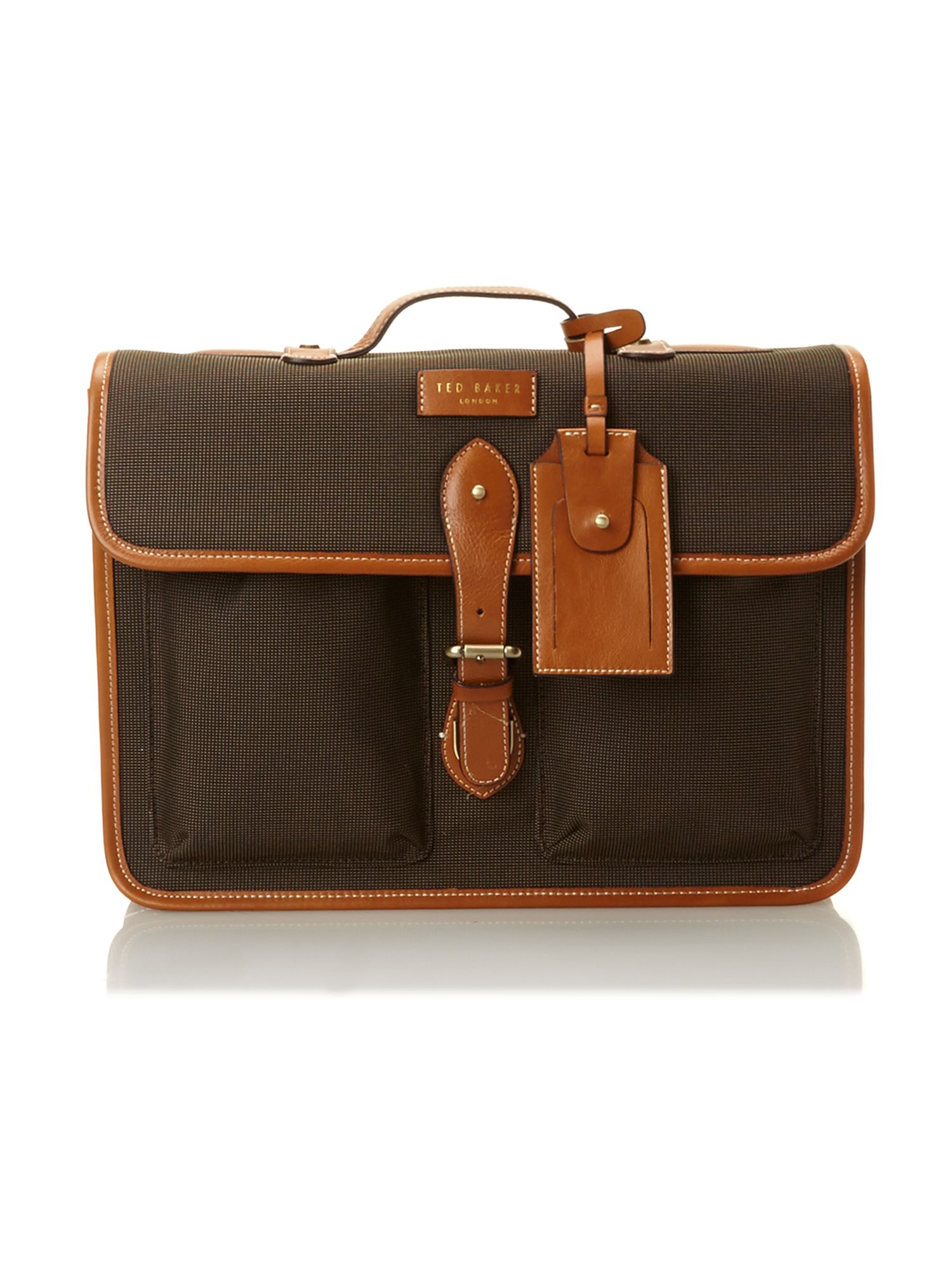 Nylon and leather satchel bag